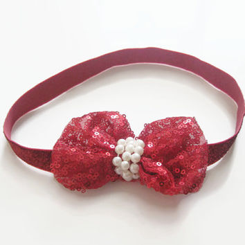 Girls red glitter sequin bow headband -baby headband,toddler headband, headband, newborn photo prop, baby headband, party headband,UK seller