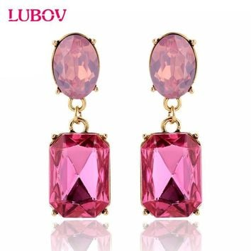 Multicolor Square Candy Drop Earrings Pendant Fashion Jewelry for Women 2016 New Fashion Party Wedding Engagement Earrings