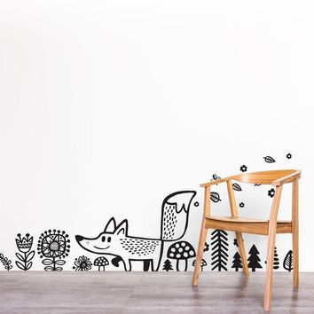 Wild Animals Fox Wall Decal Vinyl Wall Sticker , Woodland Decor Cartoon Fox Wall Decals Sticker For Nursery Room Kids Bedroom