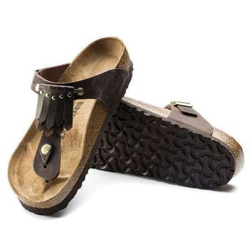 DCCK1 Birkenstock Gizeh Leather Brown 1006756 Sandals