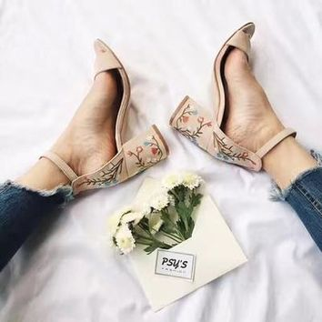 Faux Suede Women Sandals Embroider High Heel Women Sandals Ethnic Floral Sandalias Muje Party Shoes