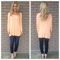 Peach 3/4 Sleeve Jersey Top