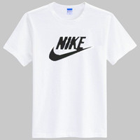 """""""Nike"""" Unisex Simple Casual Classic Letter Print Round Neck Short Sleeve Couple Cotton T-shirt"""