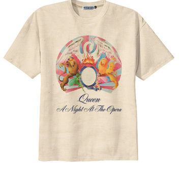 Retro Queen A Night at the Opera Rock Band T-Shirt Tee Organic Cotton Vintage Look Size S M L