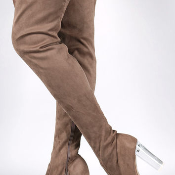 Wild Diva Lounge Suede Chunky Lucite Heel Boots