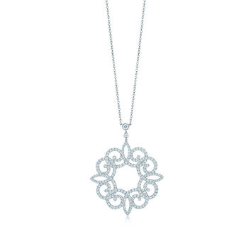Tiffany & Co. - Tiffany Enchant® scroll pendant in platinum with diamonds, medium.