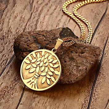 Mens Womens Necklaces Stainless Steel Tree Of Life Medallion Cion Pendant Necklaces For Woman Men Fashion Jewelry Family Gift
