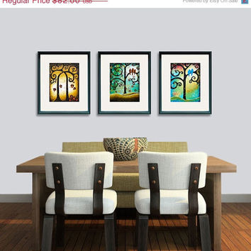SALE 15% Off - Folk Art Tree of Life Giclee Prints Whimsical Tree Rustic Country Wall Art Set of 3 11x14 Signed