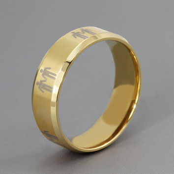 Titanium Mens Gay Pride Promise Ring Gold Color