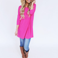 Half Sleeve Long Tee- Hot Pink