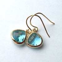 Small Aqua and Gold Dangle Earrings, gift, mother, mom, sister, friend, anniversary gift, wedding jewelry, birthday gift, everyday fashion
