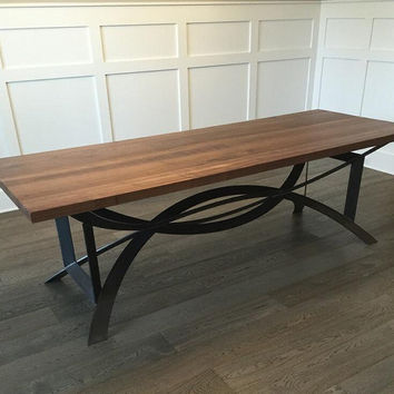 DINING TABLE: Modern Rustic Table with DC Base