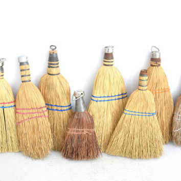 Collection of Vintage Whisk Brooms