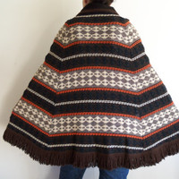 Vtg 60/70s Aztec Tribal Ethnic Hippie Boho Fringed Knit Button Up Poncho in Browns, Blacks, and Creams
