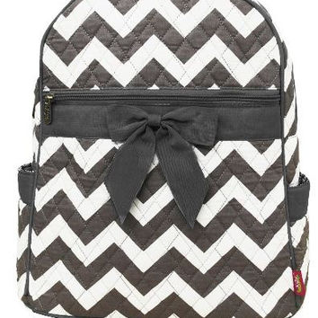 Personalized Grey Chevron Backpack Bookbag Dance Bag Swim Bag Aqua Zig Zag Christmas Birthday