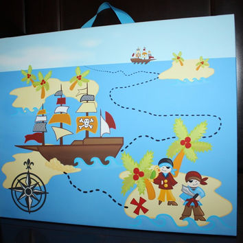 Personalized Pirate Ship Treasure Map Stretched Canvas Children's Bedroom Wall Art CS0036