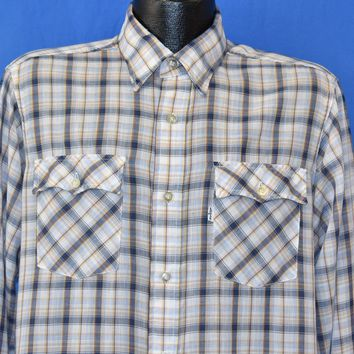 80s Levi's Plaid 1980 Olympic Games Button Down Shirt Large