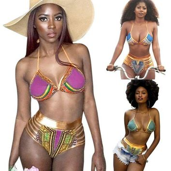 DCCKH0D South Africa bikini gold stamp printing high waisted character Swimsuit