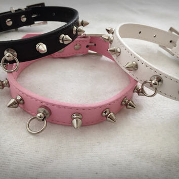 Black Pink White Purple Kitten Play Studded Spiked BDSM Collar Faux Leather