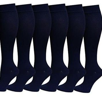 DCCK2JE Differenttouch 6 Pairs Pack Women Dr Motion Graduated Compression Knee High Socks (Fun & Fashion)