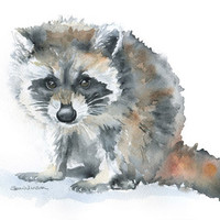 Raccoon Watercolor Painting - 5 x 7 - Giclee Print - Nursery Art - Woodland Animal
