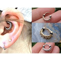 Silver, Gold or Rose Gold Lotus Flower Daith, Tragus, Septum or Rook Hoop