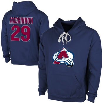 Old Time Hockey Nathan Mackinnon Colorado Avalanche Current Player Malcolm Skate Lace-Up Name & Number Pullover Hoodie - Steel Blue