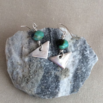 Sterling Silver Earrings Triangles With Wire Wrapped Turquoise Beads