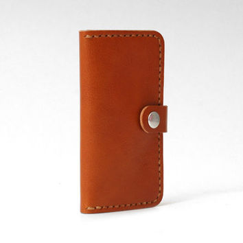 Minimal Leather Iphone 5 Wallet Iphone 5 5s Case, Personalized, Vegetable-tanned Leather, Handmade Hand-stitched, Cognac Brown