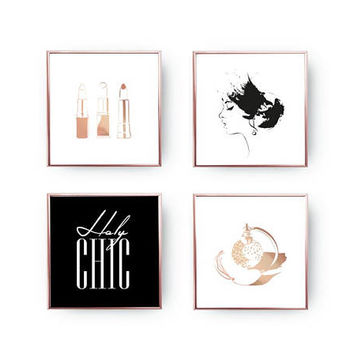 SET of 4 Prints, Holy Chic, Perfume Bottle, Home Decor, Gold Foil Print, Woman Profile, Makeup Set Posters, Makeup Art, Lipsticks Print