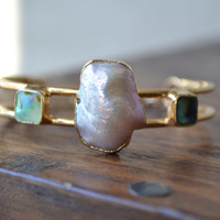 NOVA /// Lux Divine Double Banded Gemstone Bracelet /// Gold dipped /// Freshwater Pearl, Abalone