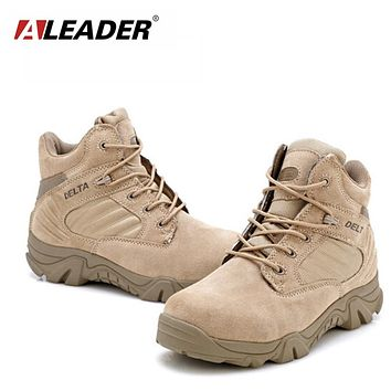 Big Size Mens Boots Size 38-46 Man Outdoor Boots Autumn Winter Men Thick Sole Shoes Black Khaki Tracking Shoes For Men Reputation First Men's Boots