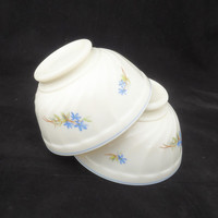 French Vintage Arcopal White Glass cafe au lait bowl, Swirl bowl with Blue Flower, UK Seller