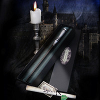 Slytherin House Boxed Wand and Prefect badge