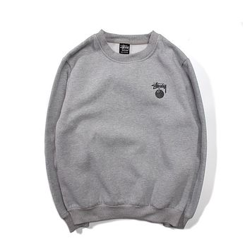 Mens Stussy Fashion Long Sleeve T Shirt Gray