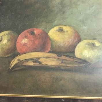 Vintage Oil Painting-Still Life-Fruit-Rustic Wood Frame