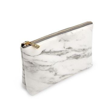 Marble Pouch with Gold Zipper