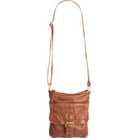 Washed Buckle Front Handbag Cognac One Size For Women 17384940901