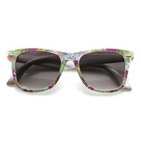 Women's Hippie Indie Floral Flower Print Horned Rim Sunglasses 9474