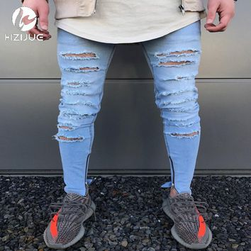 Jeans Stretch Destroyed Ripped Ankle Zipper Skinny Jeans
