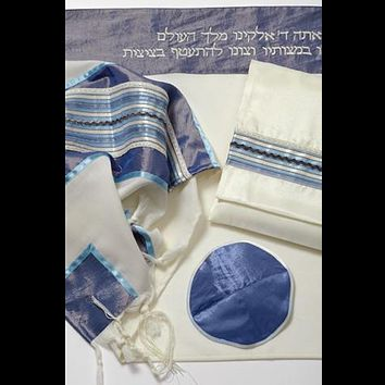 Light Blue And Silver Stripes On Wool Tallit