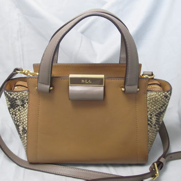 Ralph Lauren Mixed Tan Leather Satchel Handbag