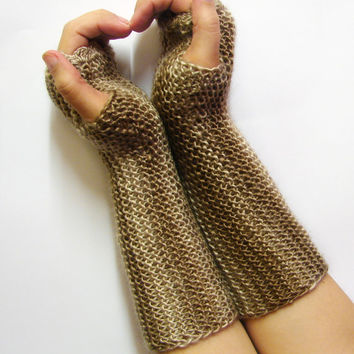 Fingerless gloves, cappuccino shades, texting gloves, seamless handknit soft armwarmers, cream and brown stripes, more colors available