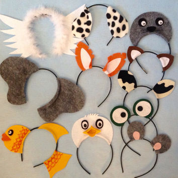 What Does A Fox Say animals theme ear headband birthday party favors kid adult baby Elephant dog cat frog cow mouse duck fish seal bird