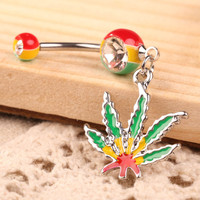 Belly Button Rings Flattering Decoration Maple Leaf Pendant Girl Belly Piercing Body Jewelry Piercing Nombril Pendant SN9