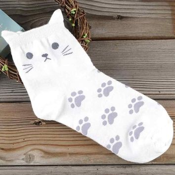 Creative Cat Faces & Footprints Cotton Ankle Socks