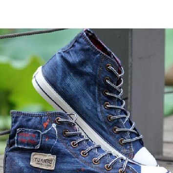 Mens Denim High Top Sneakers - New Designer YUANBU