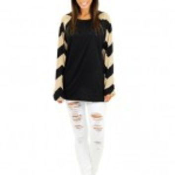 Black And Taupe Chevron Top