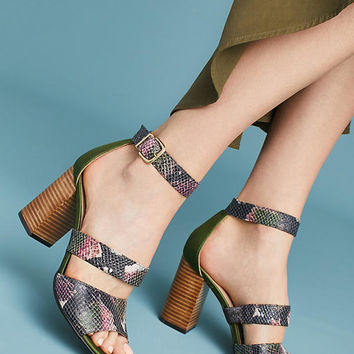Anthropologie Snake-Printed Heels