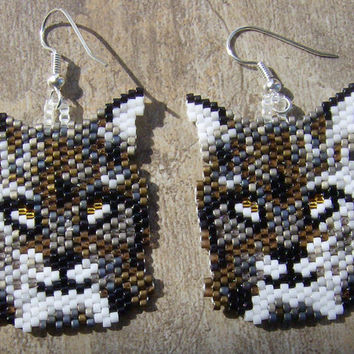 Bob Cat /Lynx brick stitch seed beaded earrings